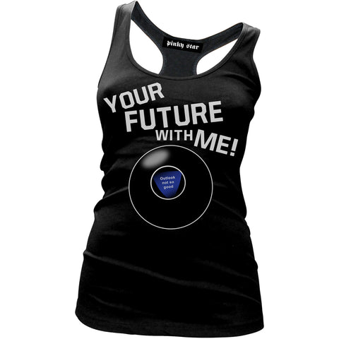 Women's Pinky Star Your Future With Me Racer Back Tank Top Black Magic 8 Ball