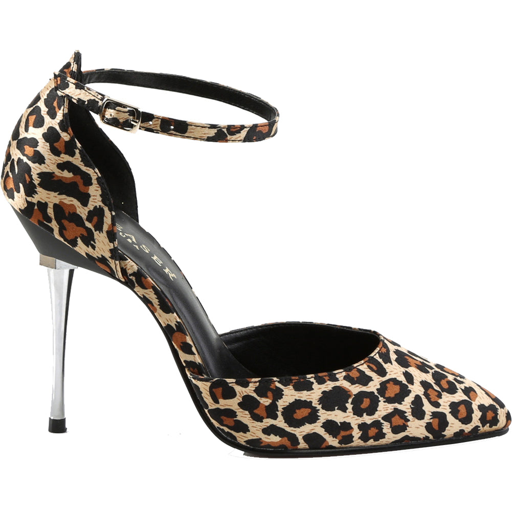 Women's Pleaser APPEAL-21 d'Orsay Leopard Print Pump Brown/Black Heel