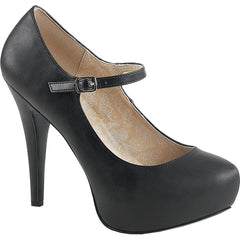 Pleaser CHLOE-02 Mary Jane Concealed Platform Pump Black PU Size 9-16