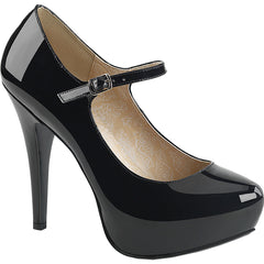 Pleaser CHLOE-02 Mary Jane Concealed Platform Pump Black Patent Size 9-16