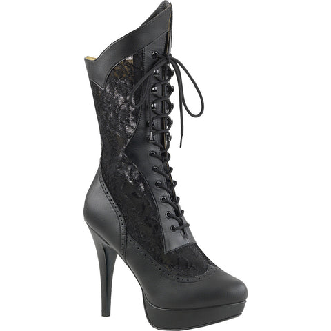 Pleaser CHLOE-115 Platform Calf High Boot Black Size 9-16 Victorian Goth Lace