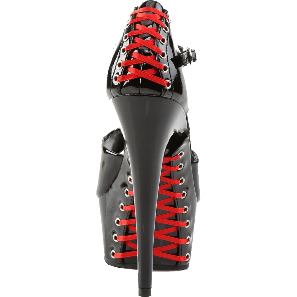 Women's Pleaser DELIGHT-660FH Platform Pump With Red Laces Black Corset Lacing