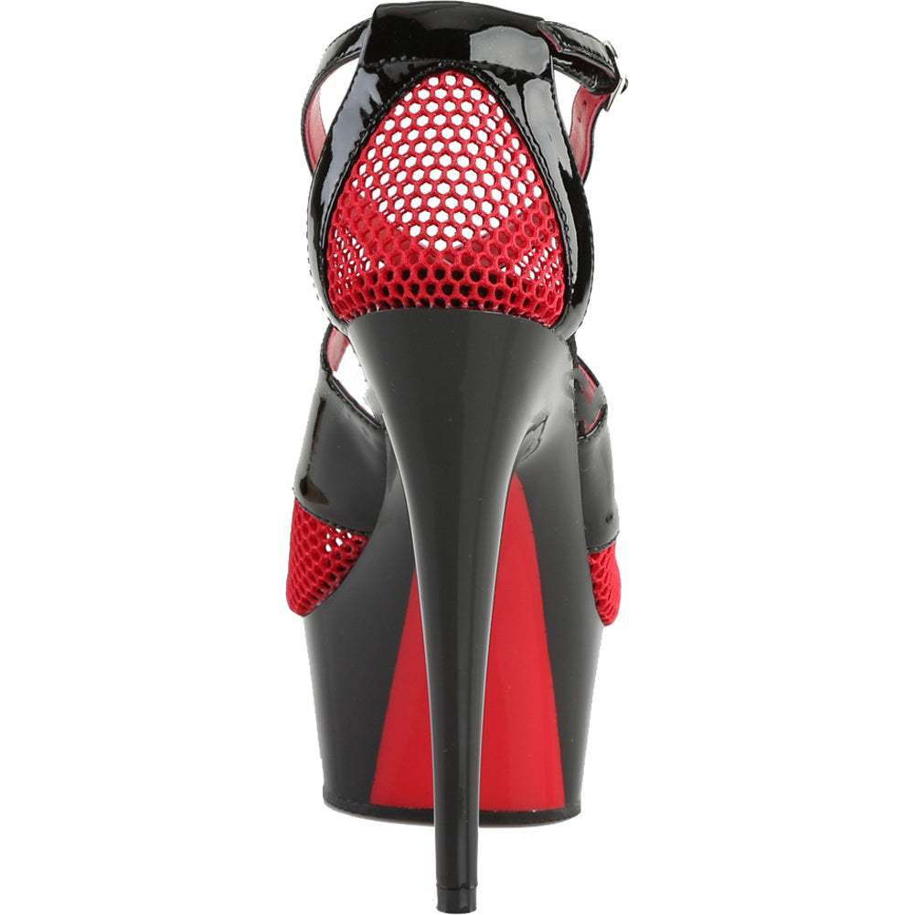 Women's Pleaser DELIGHT-652 Platform Two Tone Sandal Black/Red Sexy