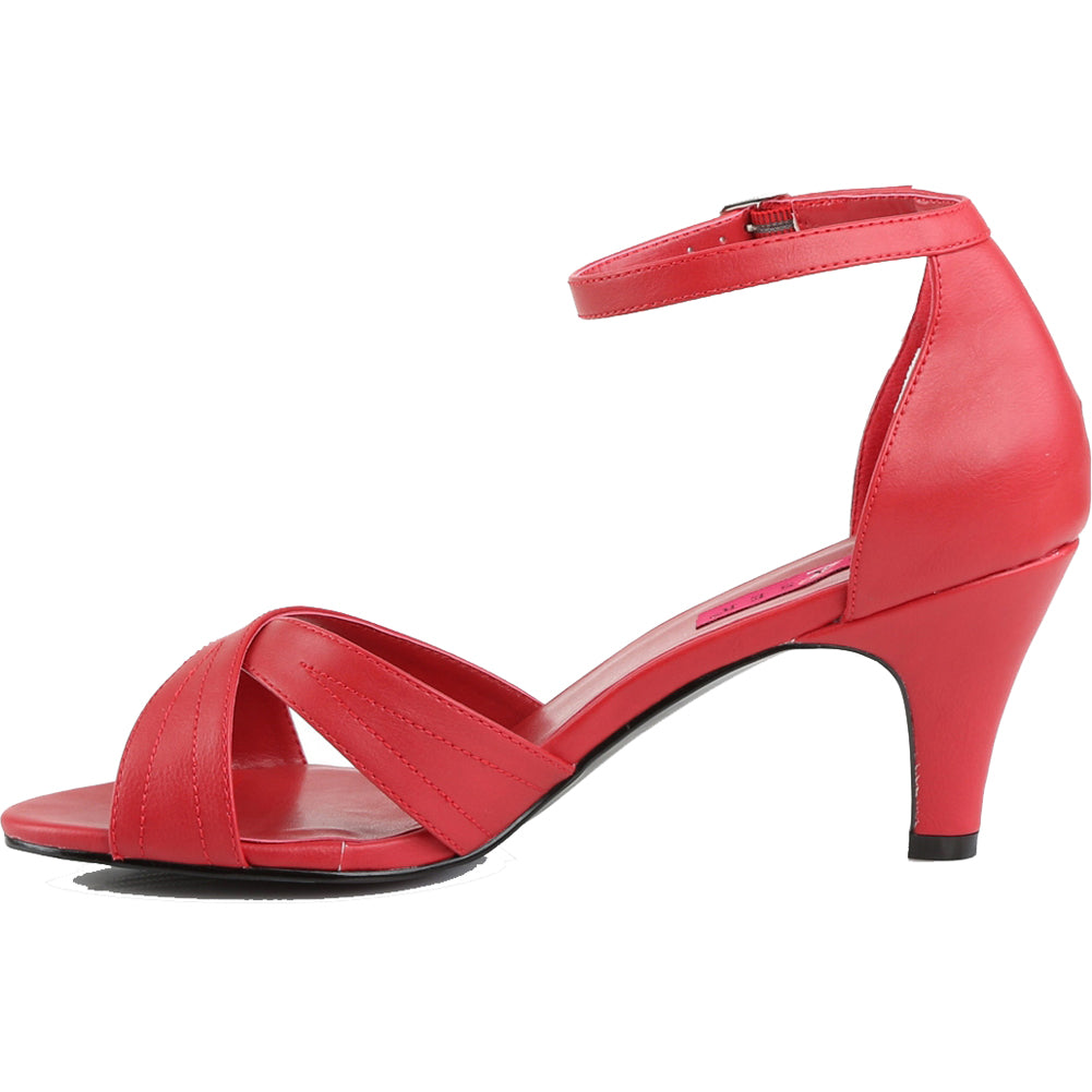 Women's Pleaser Divine-435 Ankle Strap Sandal Red Heel