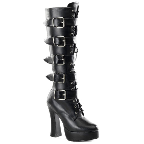 Women's Pleaser ELECTRA-2042 Platform Boot Black Faux Leather Buckles Punk Goth