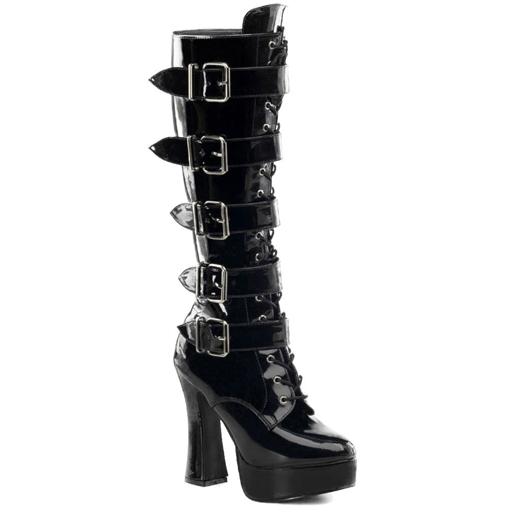 Women's Pleaser ELECTRA-2042 Platform Boot Black Patent Leather Buckles Punk