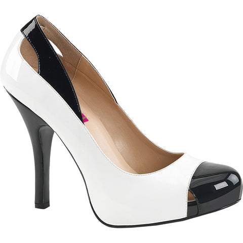 Pleaser EVE-07 Platform Spectator Pump White/Black Size 9-16