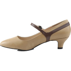 Women's Pleaser Fab-425 Kitten Heel Mary Jane Pump Tan/Brown Low Heel