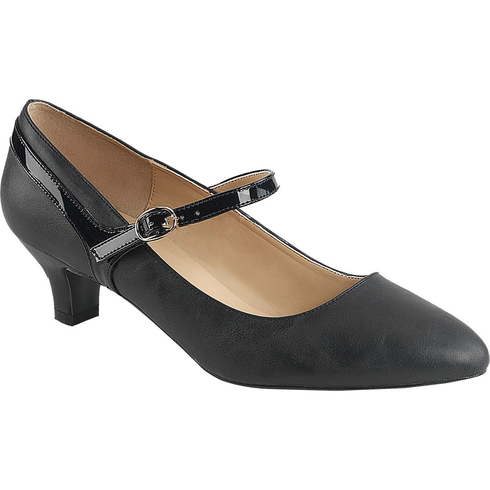Womens Pleaser Fab 425 Kitten Heel Mary Jane Pump Black Low
