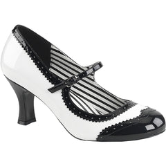 Pleaser JENNA-06 Spectator Mary Jane Pump Wht/Blk Size 9-16 Rockabilly Pin Up