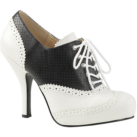 Pleaser PINUP-07 Platform Two Tone Pump White/Black Size 9-16 Retro Rockabilly