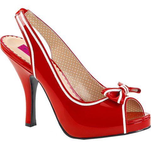 Pleaser PINUP-10 Slingback Sandal Red Vintage Retro Rockabilly