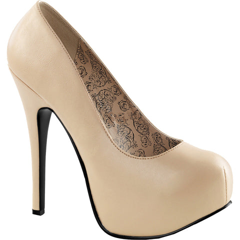 Pleaser TEEZE-06W Wide Width Concealed Platform Pump Cream Matte Sizes 11-16