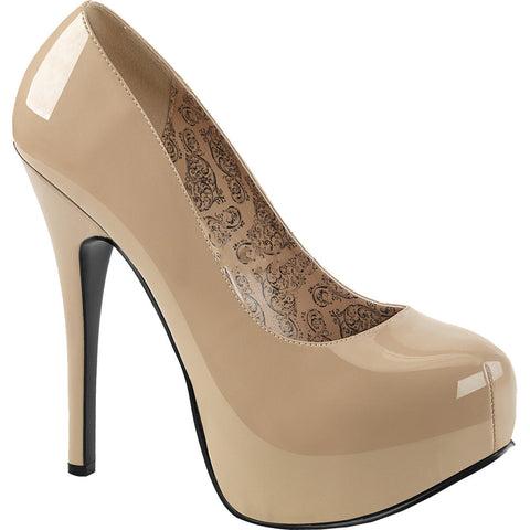 240089b0281d Pleaser TEEZE-06W Wide Width Concealed Platform Pump Cream Patent Leather  Sizes 11-16
