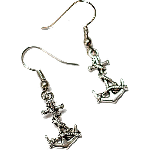 Women's Project Pinup Anchor & Rope Charm Earrings Silver Nautical