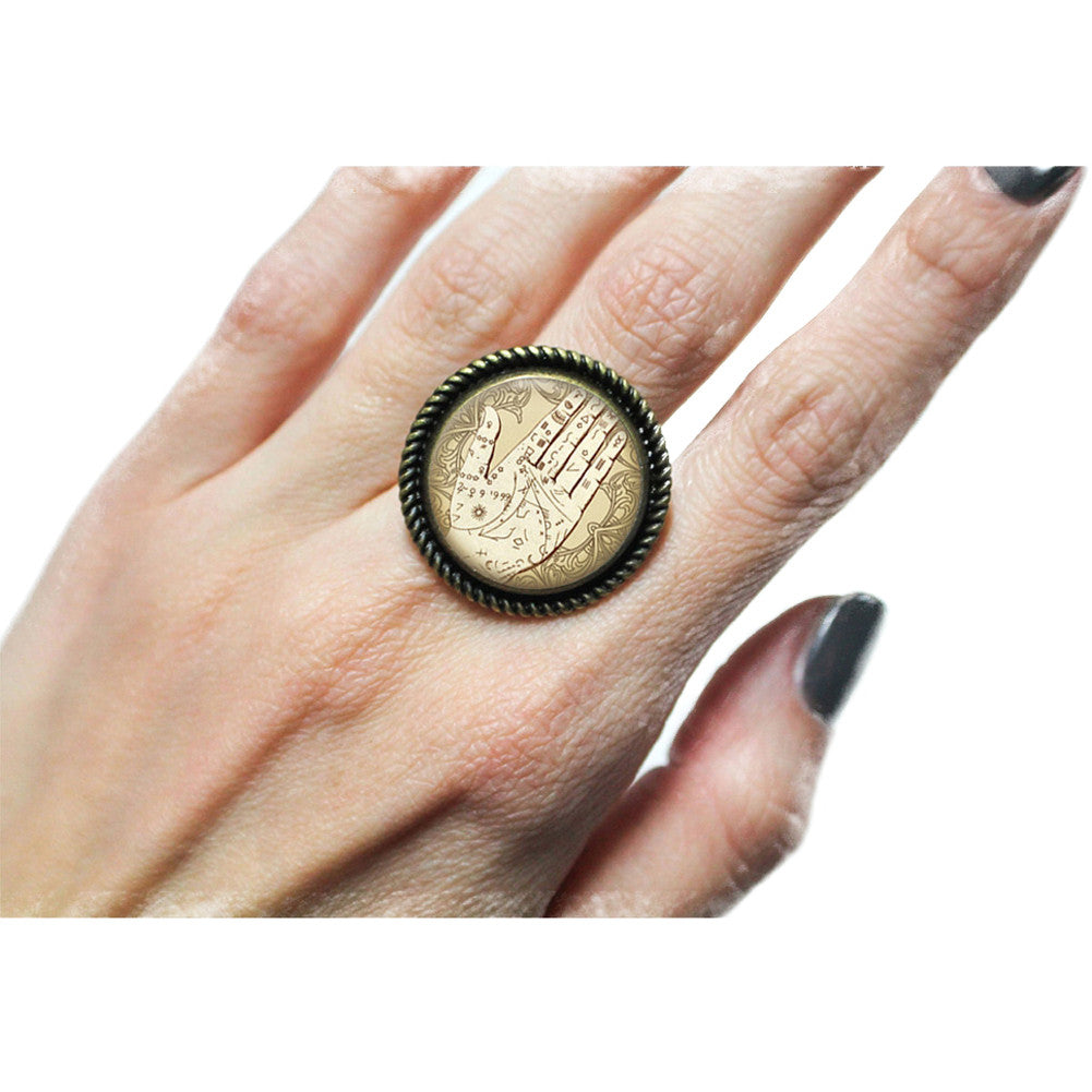Project Pinup Antique Palmistry Cabochon Adjustable Ring Cameo Mystical