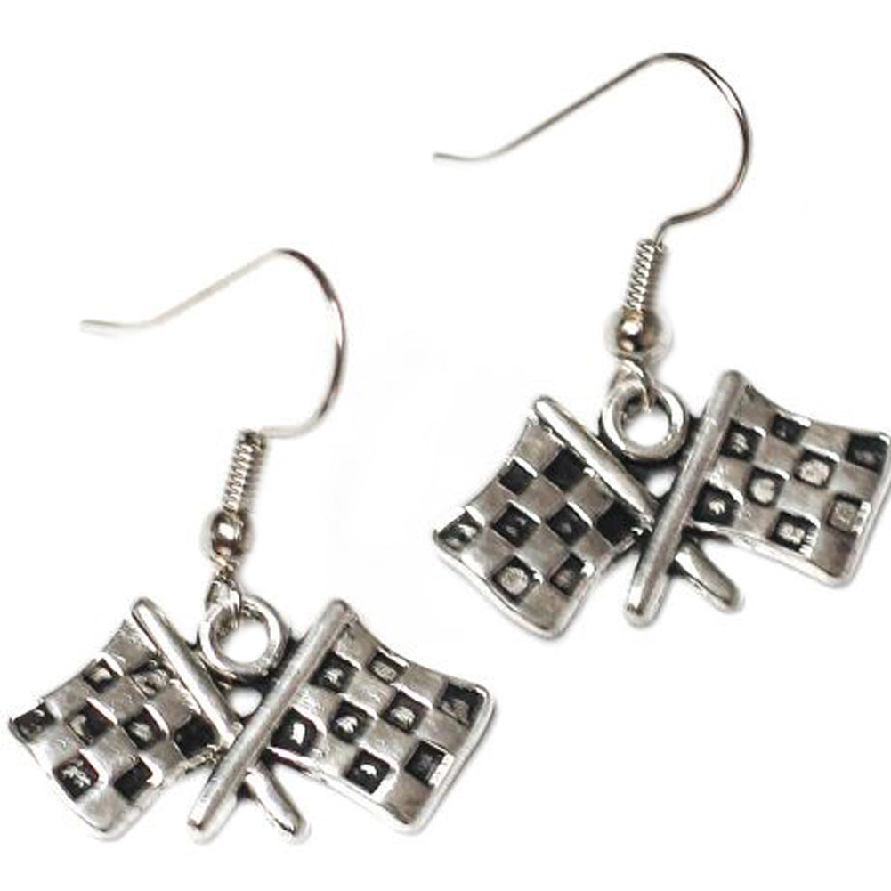 Women's Project Pinup Checkered Flag Race Day Charm Earrings Silver Hot Rod