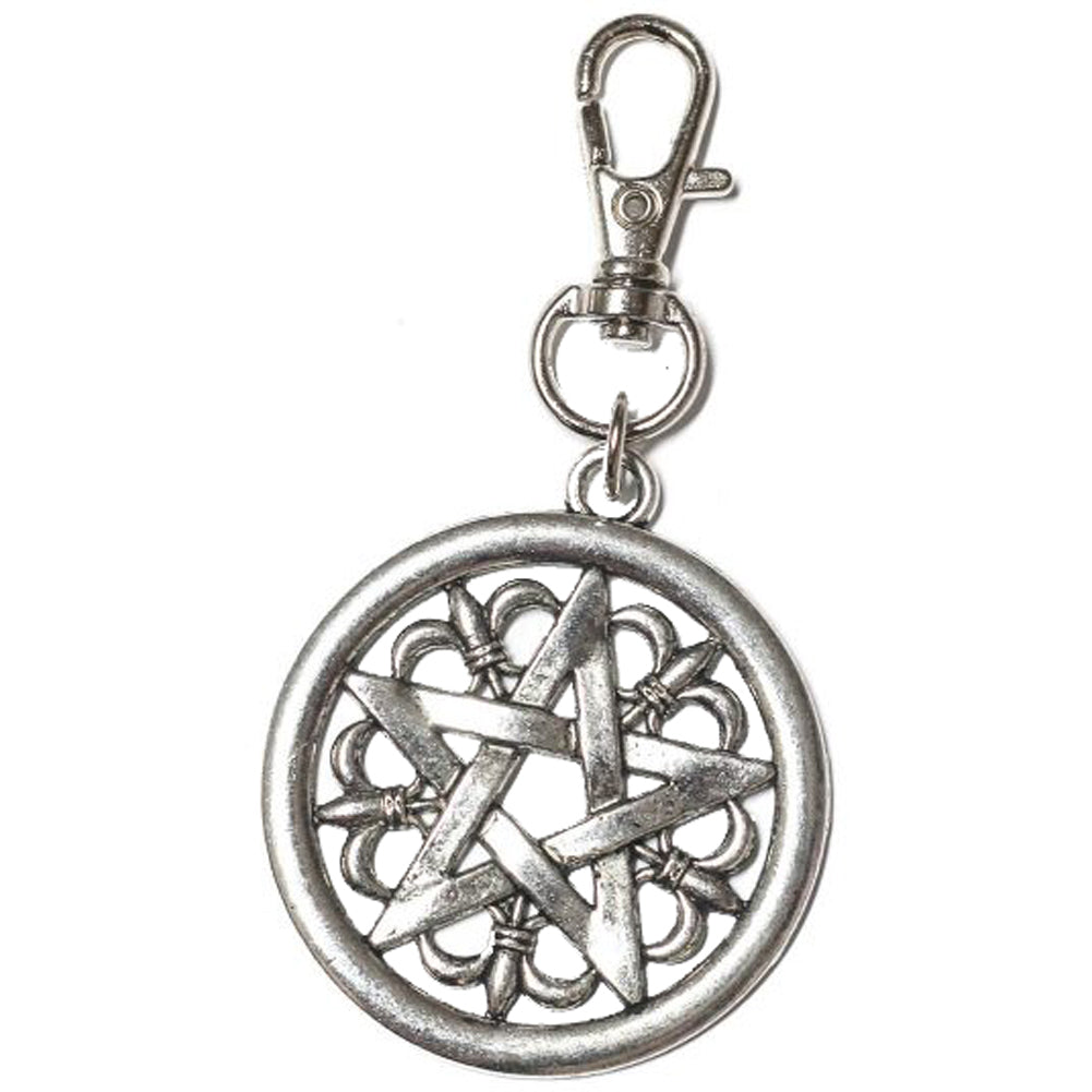 Project Pinup Gothic Pentagram Keychain Key Fob Silver Occult Goth Witchcraft
