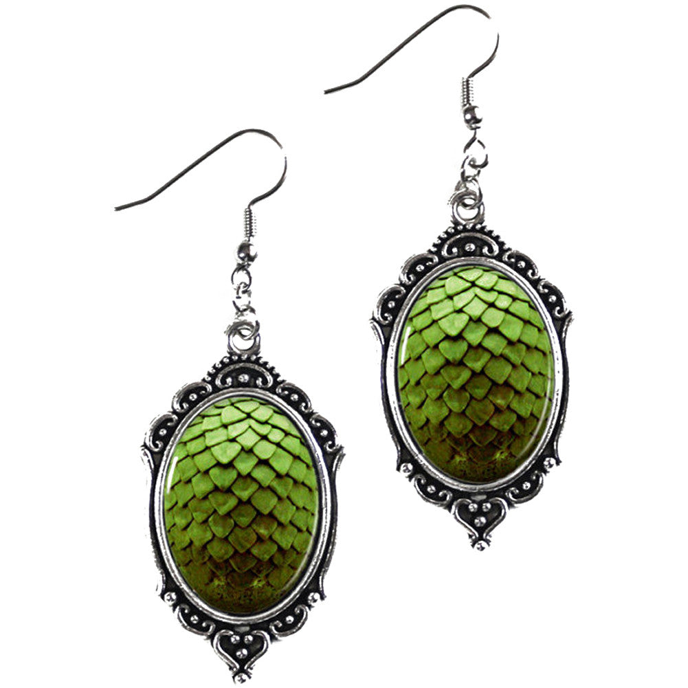 Project Pinup Green Dragon Egg Cameo Earrings Scales