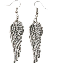 Women's Project Pinup Large Angel Wing Dangle Earrings Silver