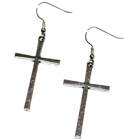 Project Pinup Large Gothic Cross Hook Earrings Goth Punk Alternative