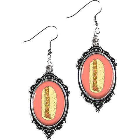 Project Pinup Retro Hot Dog Cameo Filigree Earrings Food Kitschy