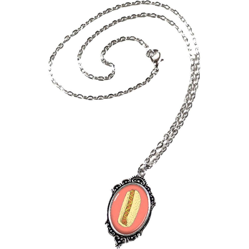 Project Pinup Retro Hot Dog Cameo Filigree Necklace Food Kitschy