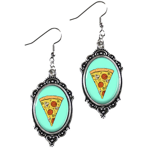 Project Pinup Retro Pizza Cameo Filigree Earrings Food Kitschy