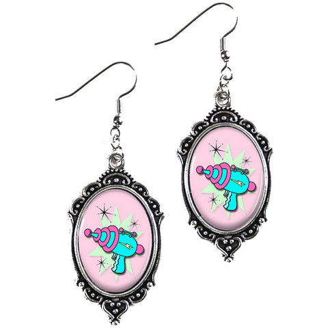 Project Pinup Pink Retro Ray Gun Cameo Filigree Earrings Kitschy