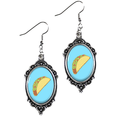 Project Pinup Retro Tacos Cameo Filigree Earrings Food Kitschy Latino