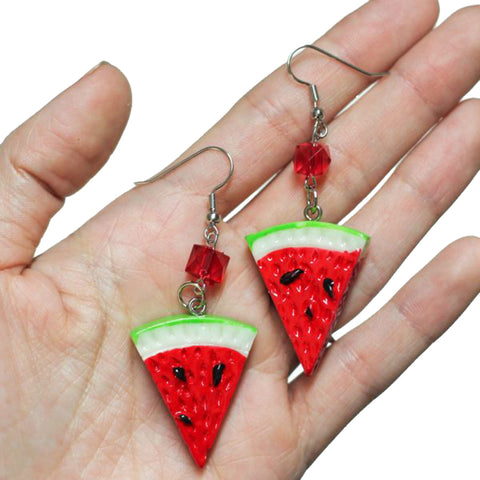 Womens Project Pinup Retro Watermelon Fruit Slice Beaded Earrings Red Rockabilly