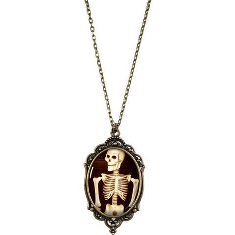 Women's Project Pinup Smiling Skeleton Cameo Necklace Brass Goth