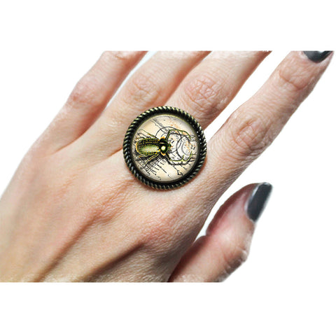 Project Pinup Steampunk Beetle Cabochon Adjustable Ring Bug