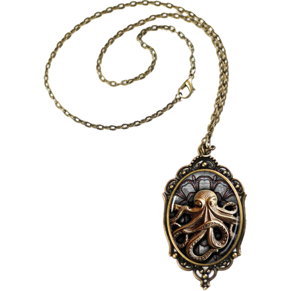 Women's Project Pinup Steampunk Octopus Cameo Necklace Brass Nautical