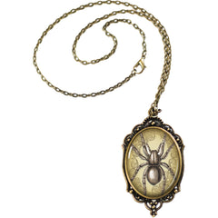 Women's Project Pinup Steampunk Spider Cameo Necklace Brass