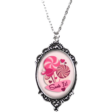 Women's Project Pinup Suck It Lollipop Cameo Necklace Silver/Pink Candy Sweets