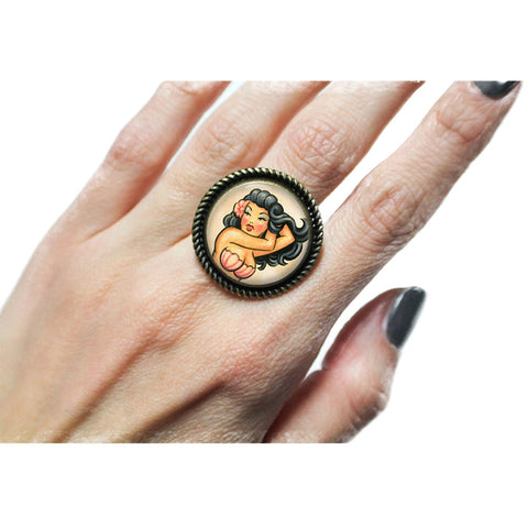 Project Pinup Traditional Tattoo Mermaid Cabochon Adjustable Ring Retro
