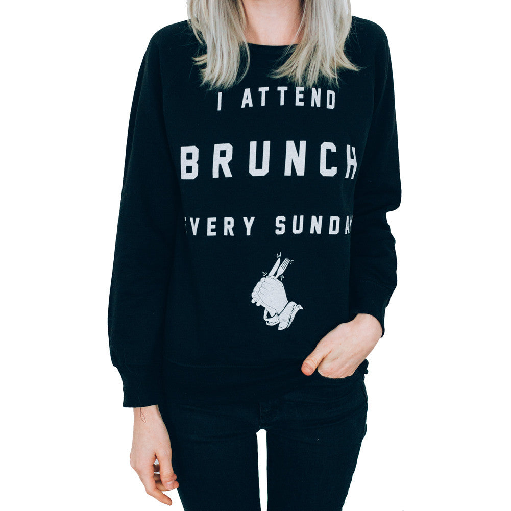 Women's Pyknic I Attend Brunch Every Sunday Crewneck Sweatshirt Black Food Funny