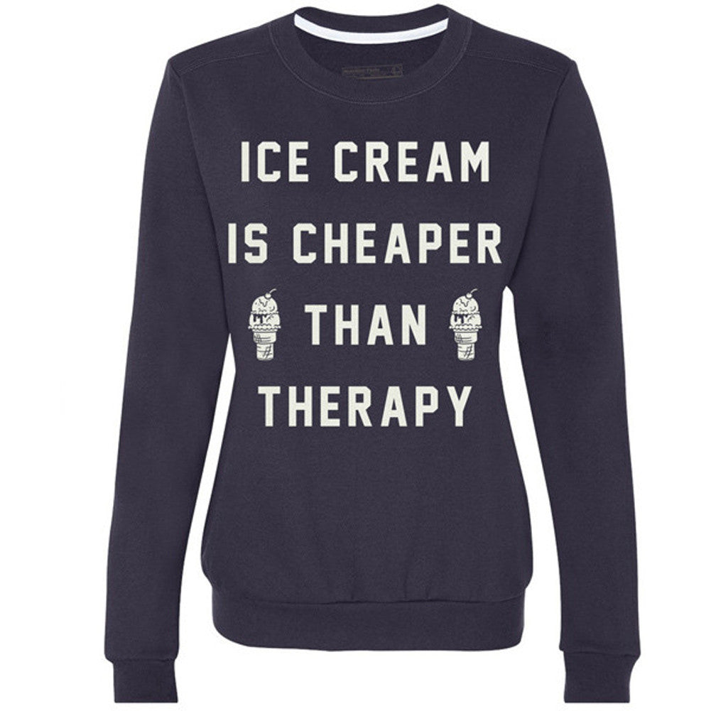 Women's Pyknic Ice Cream is Cheaper Than Therapy Crewneck Sweatshirt Navy Food