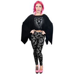 Women's Rat Baby Baroque Victorian High Waist Leggings Black Goth Occult Witch