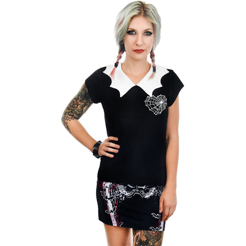 Women's Rat Baby Spider Web Heart Bat Collar Top Goth