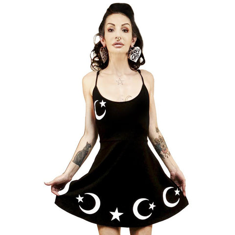 Rat Baby The Moon & The Stars Pentagram Back Skater Dress Goth Occult Witch