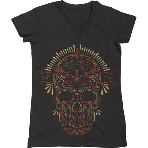 Women's Red Devil Clothing Death Skull V-Neck T-Shirt Black Day of the Dead