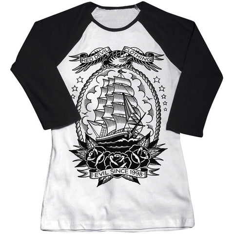 Women's Red Devil Clothing Mariner Raglan T-Shirt Traditional Tattoo Ship Art