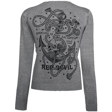 Women's Red Devil Sinking Is Not An Option Cardigan Heather Grey Nautical Anchor