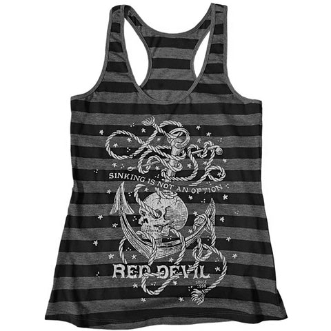 Women's Red Devil Clothing Sinking Is Not An Option Tank Top Nautical Skull