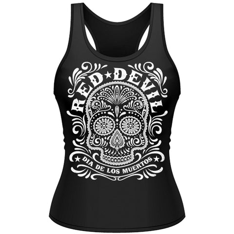 Women's Red Devil Clothing Sugar Skull Tank Top Black Day of the Dead