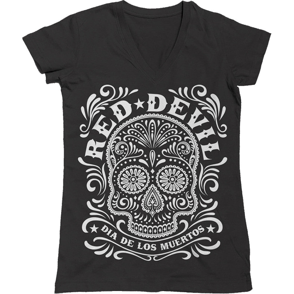 Women's Red Devil Clothing Sugar Skull V-Neck T-Shirt Black Day of the Dead