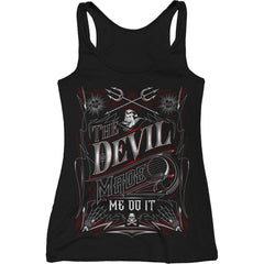 Women's Red Devil Clothing The Devil Made Me Do It Tank Top Black Lettering