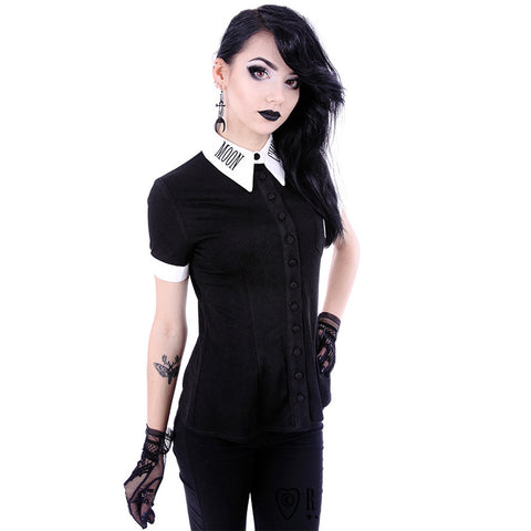 Women's Restyle Moon Child Shirt Black/White Goth Occult Witch